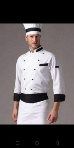 Professional Restaurant Chef Uniform, Full Sleeve Chef Uniform With Coat/Cap/Half Long Apron/Chef Trouser.