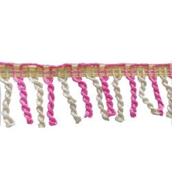 2 Inch Val Jhalar Lace - 15 Meter - Cotton Lace - Curtain Lace - Decorative Laces - Sajavt Lace - Embroidery Lace -Color White & Pink