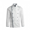 Kitchen Uniform / Chef Coat / Unisex Chef Uniform / Kitchen Apparel / Double Breasted, Mandarin Style Collar/ Full Sleeves /Made Of Premium Quality Cotton; White Color With Black Piping Trim & Buttons 42 Size