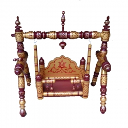 18 Inch X 24 Inch Sankheda Palna - Wooden Pooja Use Cradle - Wood Art  - Maroon  & Golden Color .