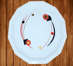 12 Inches Dinner Plates - Made Of Food-Grade Virgin Plastic Material - White Printed Plate