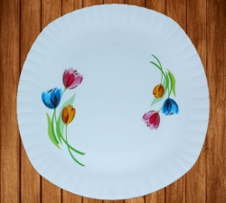 12 Inches Dinner Plates - Made Of Food-Grade Virgin Plastic Material - Square Shape - White Printed Plate - 180 Gm