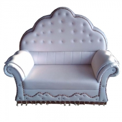 2 Seater - Wedding Reception Sofa Made Of Wood & Metal - White Color.