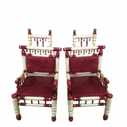Wooden Chair - Sankheda Chair - One Pair (Set Of 2 Chairs) - White & Maroon Color