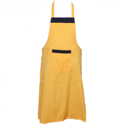 Cotton  Kitchen Apron with Front Pocket Yellow Color.