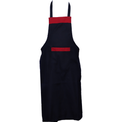 Cotton  Kitchen Apron with Front Pocket Black and Red Color .