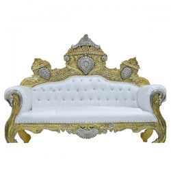 White Color - Udaipur - Rajasthani - Heavy - Premium Couches - Sofa - Wedding Sofa - Wedding Couches - Made of Wooden & Metal.