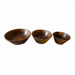 Set of 3 - Natural Colore Wooden Bowl Set Home Decor .