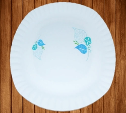 12 Inches Dinner Plates - Made Of Food-Grade Virgin Plastic Material - Square Shape - White Printed Plate