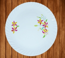 12 Inches Dinner Plates - Made Of Food-Grade Virgin Plastic Material - Round Shape - White Printed Plate- 160 GM