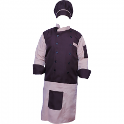 Cotton Heavy Kitchen Apron Set Shirt - Apron with Cap Dark Maroon & Peach Color