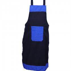 Cotton Kitchen Apron with Front Pocket Blue & Black Color