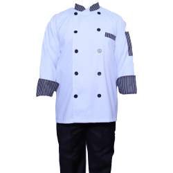 Kitchen Uniform / Chef Coat / Chef Vest ; Unisex Chef Uniform / Kitchen Apparel; Double Breasted, Mandarin Style Collar; Full Sleeves; Made Of Premium Quality Cotton;piping Trim & Buttons.