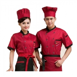 Chef Uniform for Man & Woman - Kitchen Apparel - Red Color (Available size 38 , 40 , 42 , 44 , 46 , 48)