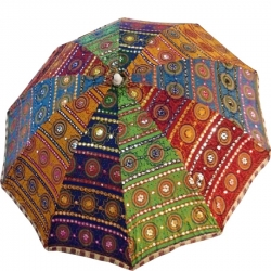 6 FT - Garden Umbrella - Rajasthani Embroidery Work - Fold able Cotton Beautiful Umbrella.