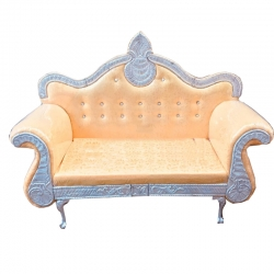 Wooden Sofa - Wedding Reception Sofa - Made Of High Quality Cushin & Fabric - Light Golden Color
