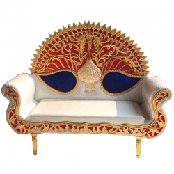 White & Blue Color - Regular - Couches - Sofa - Wedding Sofa - Maharaja Sofa - Wedding Couches - Made of Wooden & Metal