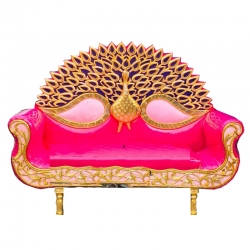 Pink & Golden Color - Regular - Couches - Sofa - Wedding Sofa - Maharaja Sofa - Wedding Couches - Made of Wooden & Metal