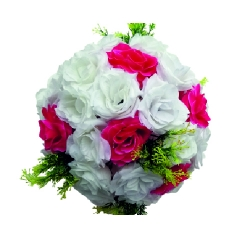 Artificial Flower Ball /  Wedding Palstic Flower Ball for Bridal Wedding / Party Ceremony Decoration / White & Pink Color