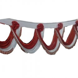 Wedding Entry Gate Cloth / Mandap Jalhar For Wedding & Party / Maroon & White Color.