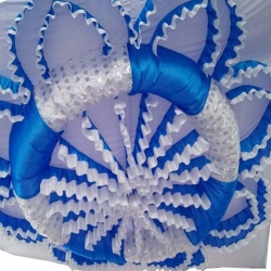 Designer Mandap Ceiling Cloth - Design Brite Lycra Cloth - Blue & White Color