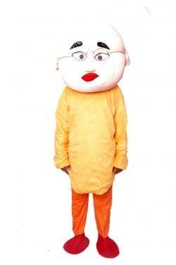 Patlu Costume - Party Mascot - Adult Costume - Made Of High Quality Plush Material - Pack Of 1 - Yellow  Color
