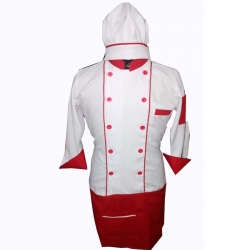 Cotton Heavy Kitchen Apron Set Shirt - Apron With Cap Dark Red & White Color