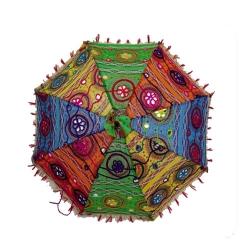 1.50 FT Diameter - Rajasthani Umbrella Handicraft Walking Stick Umbrella - Multi Color