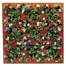 4 FT X 4 FT - Artificial Flowers Wall - Wood Jali - Flower Decoration - MultiColor
