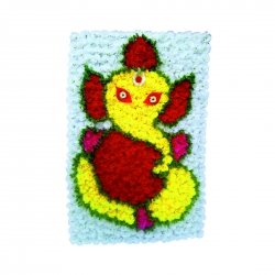 2 FT X 4 FT - Artificial Flowers Ganeshji Wall - Flower Decoration - Multi Color