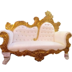 Off White Color - Udaipur - Rajasthani - Heavy - Premium - Couches - Sofa - Wedding Sofa - Wedding Couches - Made of Wooden & Metal.