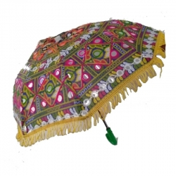 24 Inch Height & 27 inch Diameter - Rajasthani Umbrella Handicraft Walking Stick Umbrella - Multi Color