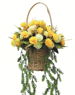 2 FT - Artificial Flower Hanging Basket - Flower Decoration - Yellow Color