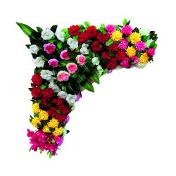 2 FT X 2 FT - Artificial Plastic Flowers Corner - Flower Panel - Flower Decoration - Multi Color