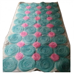 4 FT X 8 FT - Artificial Flower Panel - Back Material Taiwan Cloth - Sky & Pink Color