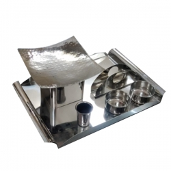 Munching Snacks - Serving Tray - Single Pot - Made of Stainless Steel
