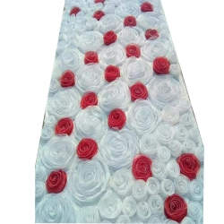 4 FT X 8 FT - Artificial Flower Panel - Back Material Taiwan Cloth - White & Red Color.
