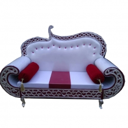 Wooden Sofa - Wedding Reception Sofa - Regular Couches - White & Maroon Color.