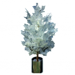 3.5 FT - Artificial Plastic Plant - Flower Tree with Pot - White Color