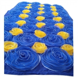 4 FT X 8 FT - Artificial Flower Panel - Back Material Taiwan Cloth - Blue & Yellow Color