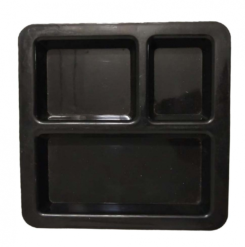 Pav Bhaji Plate - 3 Compartments Divided Plastic Plates - Made Of Pure Virgin Plastic - Black Color