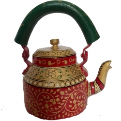 Rajasthani Hand Painted Traditional Aluminium Decorative Multi Color Tea Kettle .