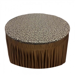 Florida Designer Table Cloth - Table Cover For Round Table - Made of Premium Quality Lycra Featuring Fine Work of Printed - Brown Color.