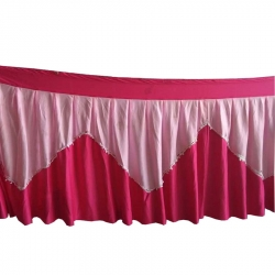 Table Cover Frill - Made of Premium Lycra Quality - Pink Color (Size Available 10 FT X 15 FT X 20 FT X 30 FT )