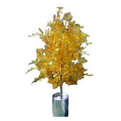 3.5 FT - Artificial Plastic Plant - Flower Tree with Pot - Golden Color