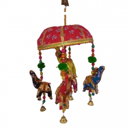 Rajasthani Handmade Decorative Tokri Elephant Jhumar / Multi Color .