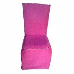 Heavy Velvet Embossed Chair Cover With Piping - Pink Color