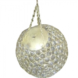 8 INCH - Wall Hanging Decoration Crystal Ball - Hanging Jhumar - White Color