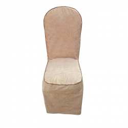 Heavy Velvet Embossed Chair Cover With Piping - Golden Color.