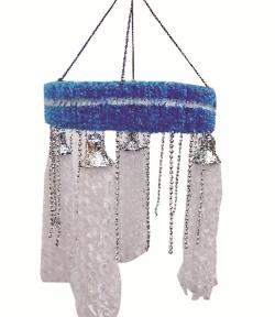 2 FT - Artificial Fur Jhumar - Hanging Jhumar - White & Blue Color
